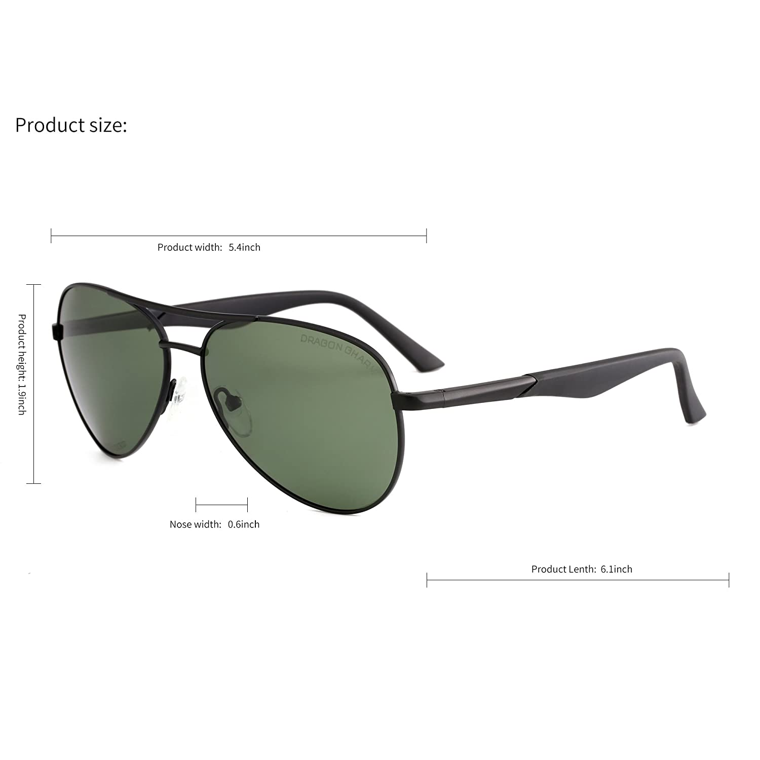 607ddc95bd Amazon.com  DRAGON CHARM Aviator Metal Frame Sunglasses Polarized UV400  Protection AM2360  Clothing