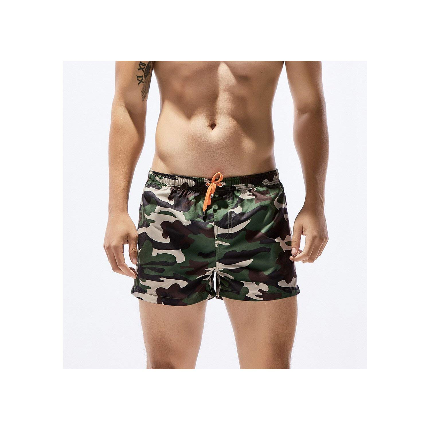 Ivyi Large Size Men Breathable Swimming Trunks Slim Camouflage Printed Underwear Shorts Beach Shorts