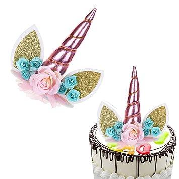 Unicorn Cupcake Toppers Unicorn Cat Ears Flower Birthday Cake