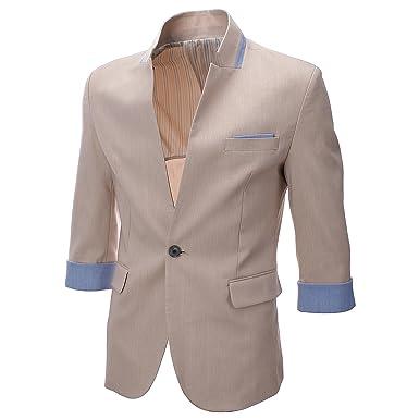 FLATSEVEN Mens Slim Fit 3/4 Sleeve Designer Blazer Jacket (BJ307) Beige,