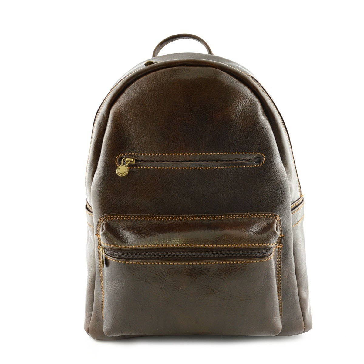 Made In Italy Leather Backpack Color Dark Brown - Backpack   B0157PE9ZO