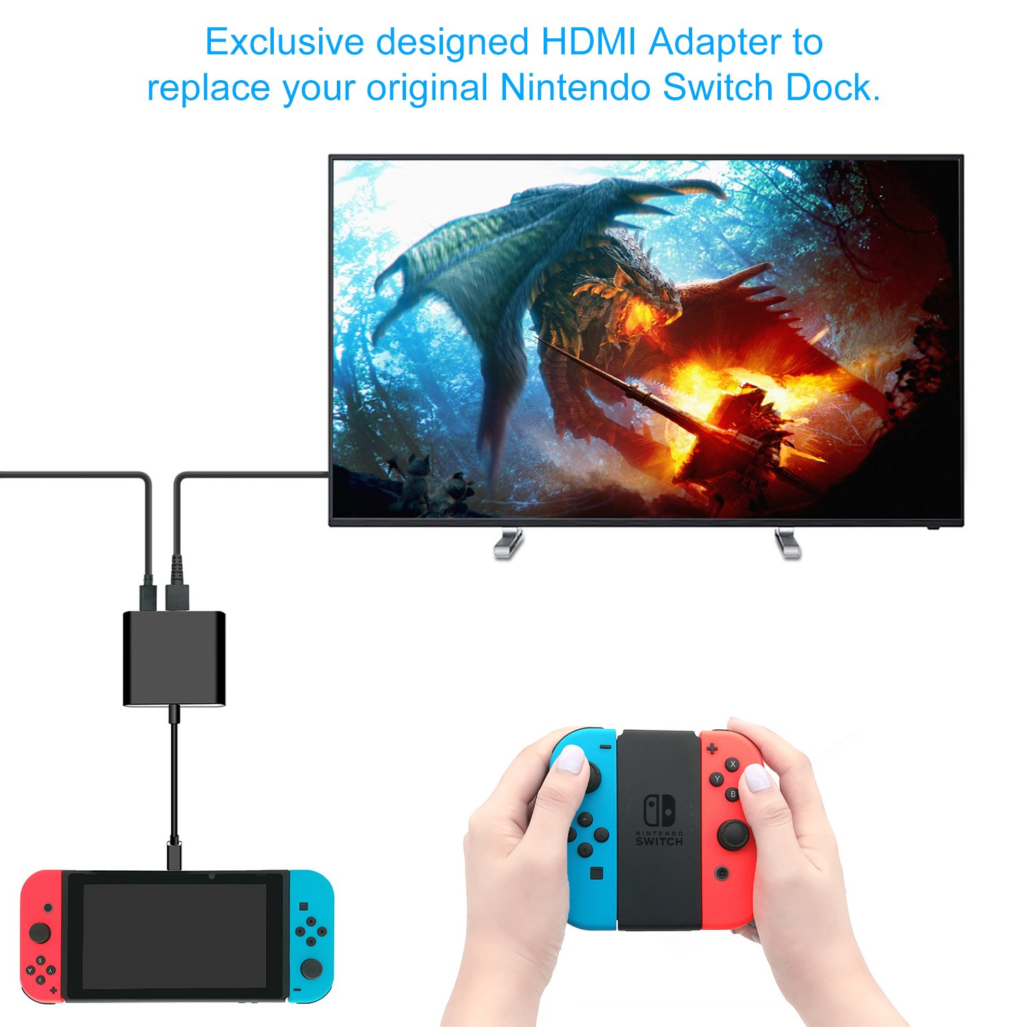 Fastsnail Hdmi Type C Hub Adapter For Nintendo Switch Home Wiring Diagram Smart Converter Dock Cable Black Computers Accessories