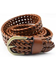 Men Belt Leather All-match Retro Braided With Pin Buckle Casual (Size : L)