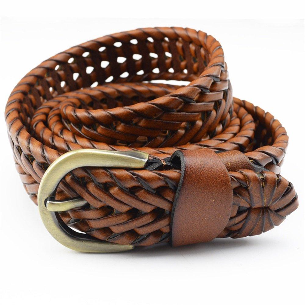 Melodycp Elegante Cinturón Reversible de Cuero para Mujer Correa de Cuero de Las señoras del Todo-fósforo Retro Trenzado con Hebilla de Pin Casual Elegante (tamaño : S)