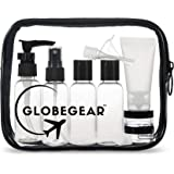 GLOBEGEAR TSA Approved Travel Toiletry Bag Clear Quart Size 3-1-1 Carry-On Luggage Compliant for Airplane with Leak-Proof Travel Bottles Containers & Accessories for Flying - Women/Men