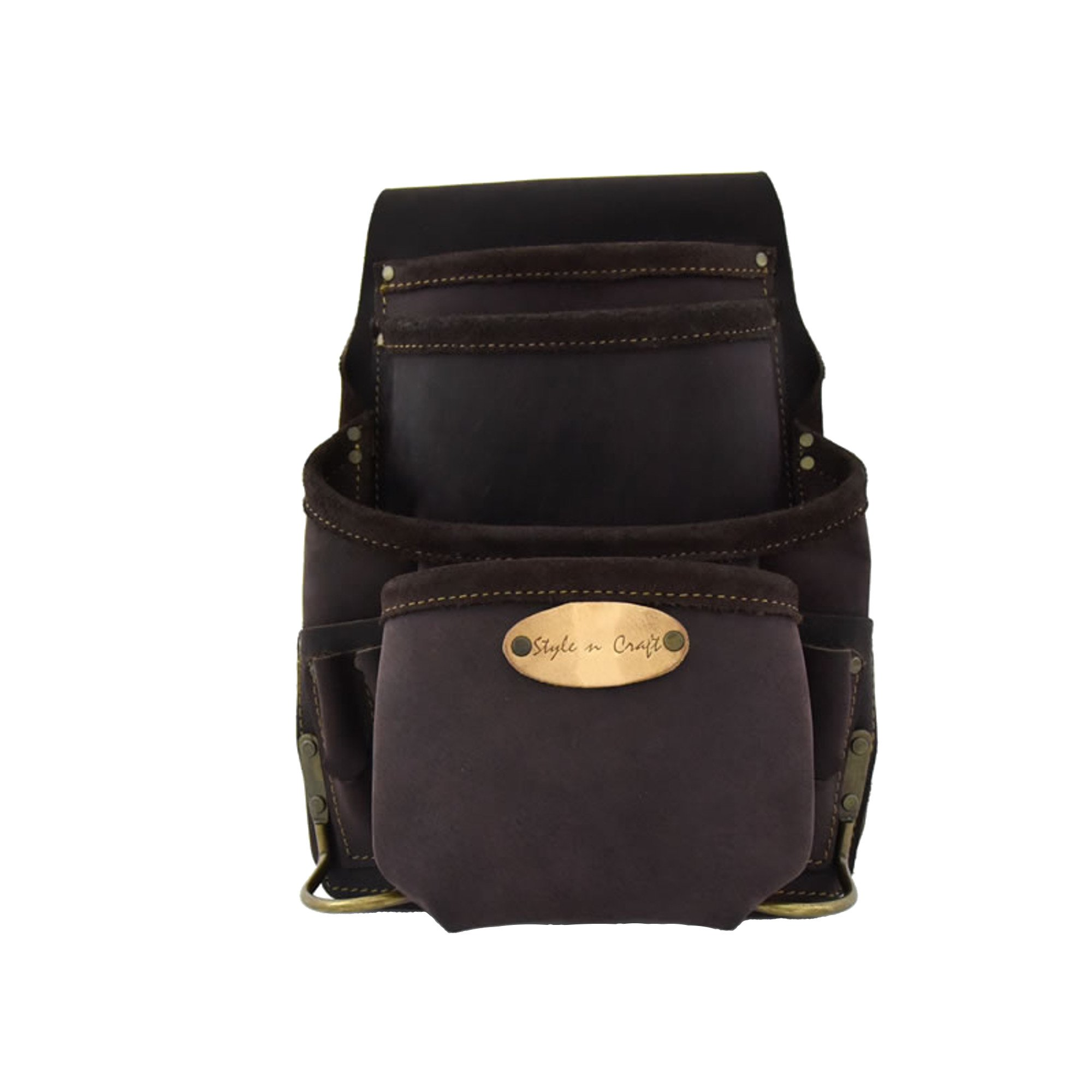Style n Craft 90-926 10 Pocket Nail and Tool Pouch In Top Grain Oiled Leather