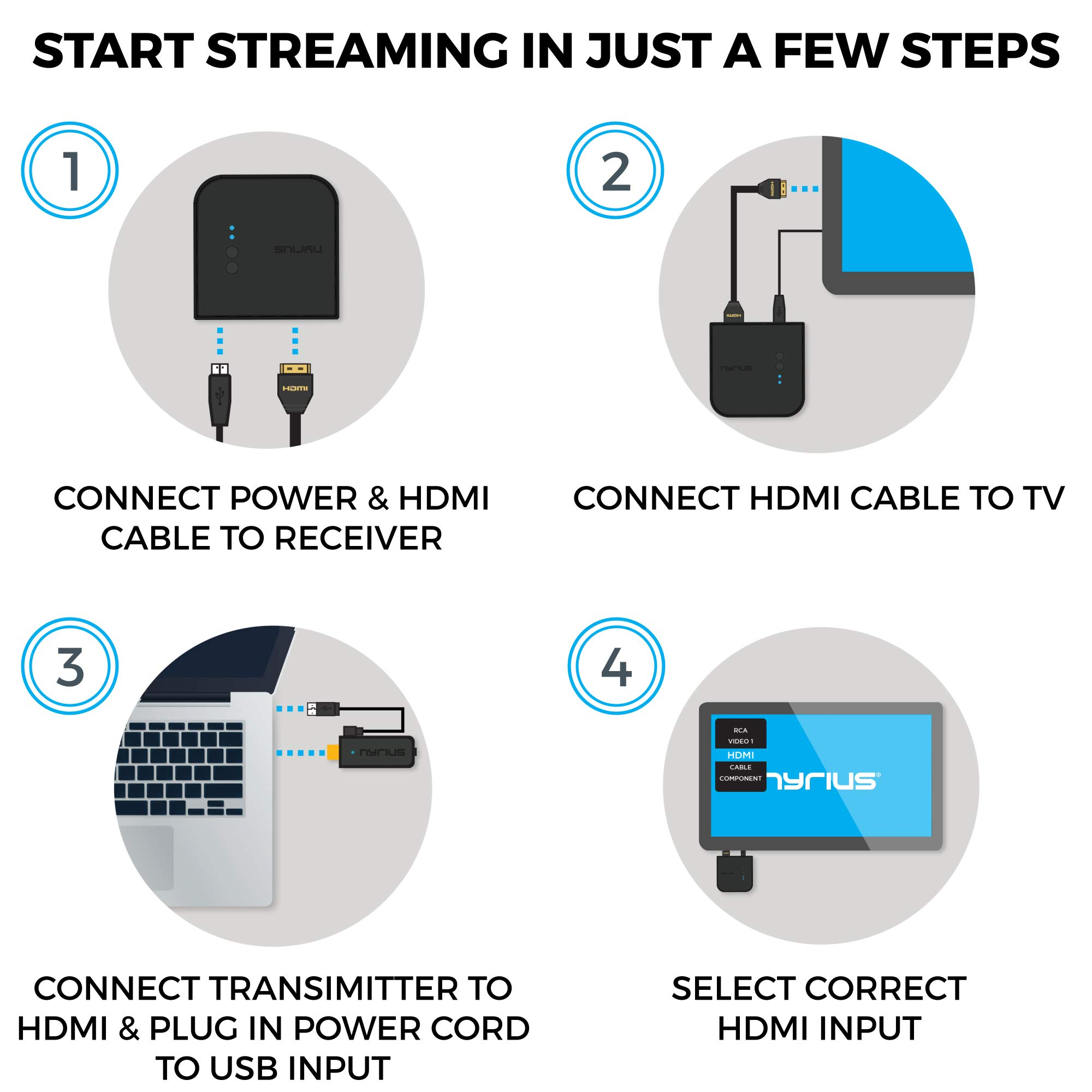 Nyrius Aries Prime Wireless Video HDMI Transmitter & Receiver for Streaming HD 1080p 3D Video & Digital Audio from Laptop, PC, Cable, Netflix, YouTube, PS4, Xbox One to HDTV/Projector (NPCS549) by Nyrius (Image #6)