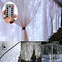 Battery Operated 300 LED Curtain String lights w/ Remote & Timer, Outdoor Curtain Icicle Wall Lights For Wedding Backdrops, Christmas, Holiday, Camping Decoration (3 × 3m, Dimmable,