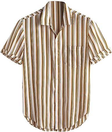 CAOQAO Camisas Hombre Manga Corta Amarillo Hawaiana Camisa 2019 Rayas de Manga Corta de Verano Botones Sueltos Camisa Informal Blusa: Amazon.es: Ropa y accesorios