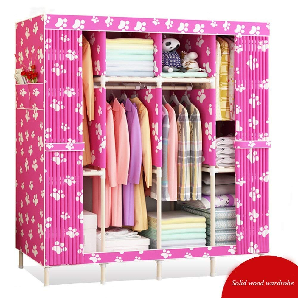 XSWZAQ Wardrobe Simple and Simple Modern economical Assembled Solid Wood Cloth Wardrobe Closet Storage Rental Home Fabric/Product Size:6767''(170170cm) (Color : B) by XSWZAQ