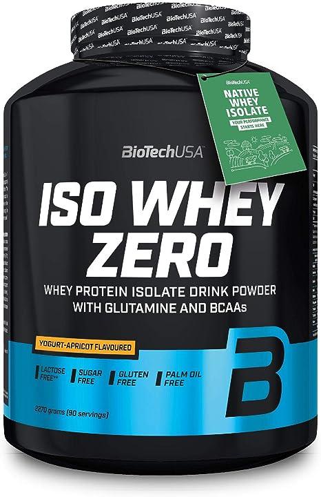 BioTechUSA Iso Whey ZERO, Lactose, Gluten, Sugar FREE, Whey Protein Isolate, 2.27 kg, Yogur-albaricoque