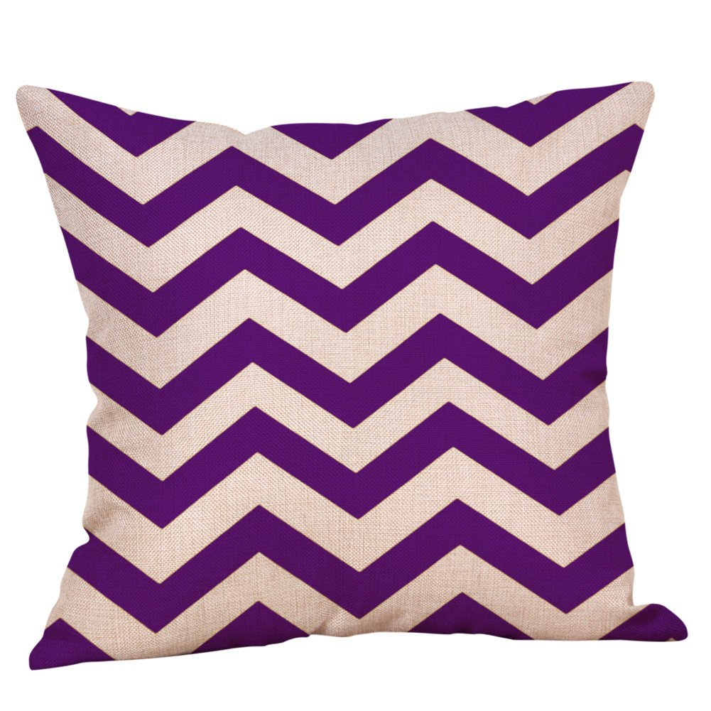 Pgojuni Purple Series Geometric Fall Autumn Home Pillowcase Cotton Linen Decoration Throw Pillow Cover Cushion Cover Square Pillow Case for Sofa/Couch 1pc (H)