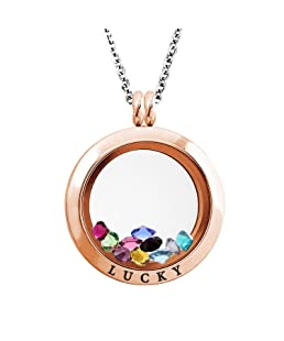 Tioneer 20 MM Rose Gold Plated Stainless Steel Lucky Engraved Floating Glass Charm Locket Pendant Necklace