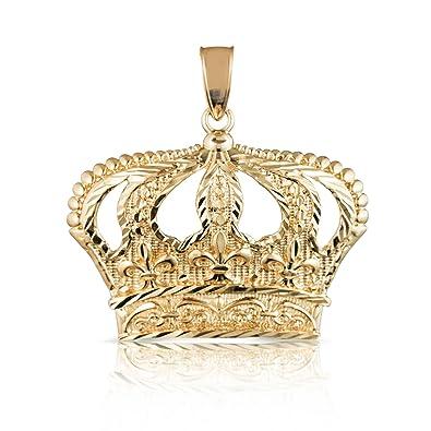 Amazon 10k yellow gold open big crown charm pendant with amazon 10k yellow gold open big crown charm pendant with diamond cut design large jewelry aloadofball Choice Image