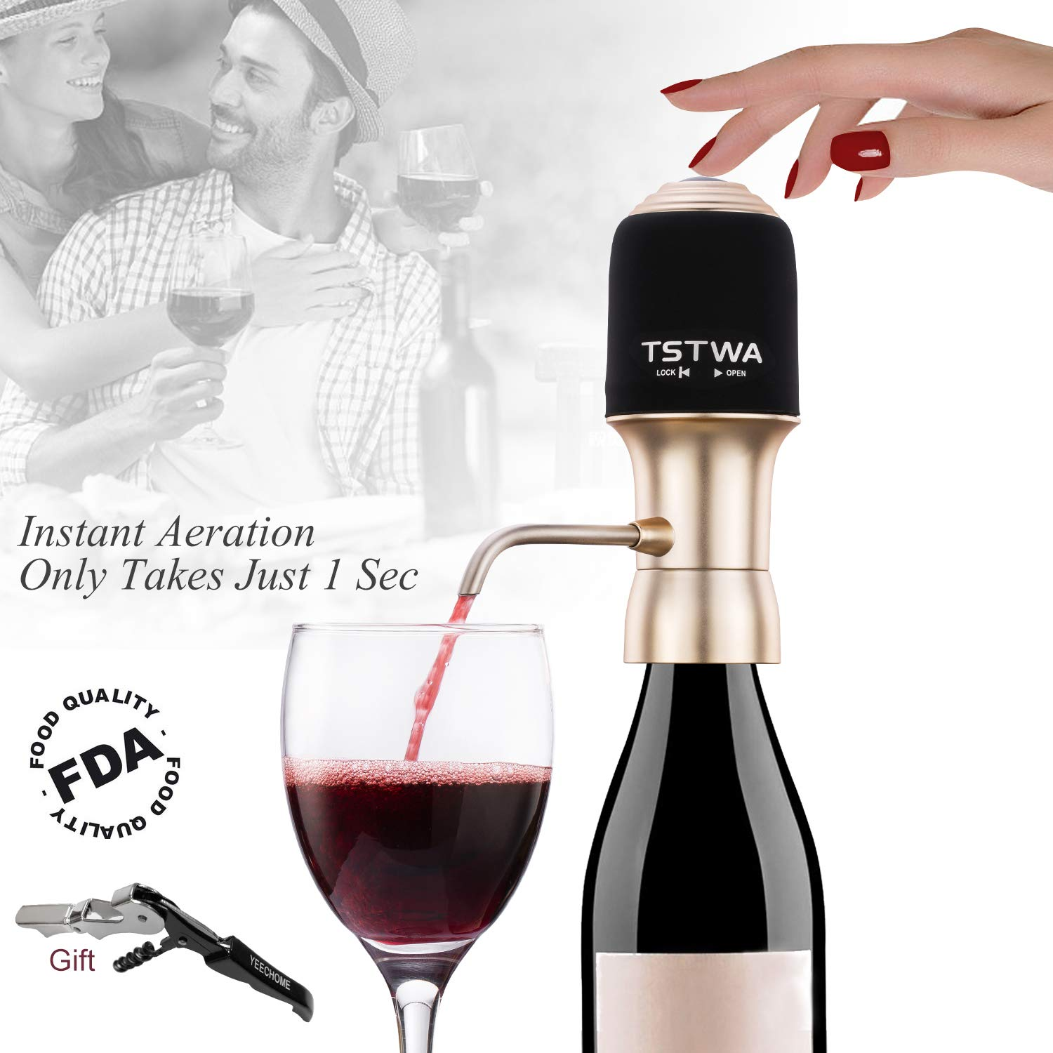 Electric Wine Aerator Decanter Pump Dispenser & Waiters Corkscrew Instant One Touch Portable Red & White Wine Accessories Aeration For Wine and Spirit Beginner and Enthusiast -Spout Pourer - Gift Box Wine aerator factory