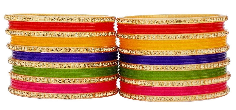JDZ COLLECTION Indian Traditional Jewelry Bangles Bollywood Wedding Multi Costume Bangles Chudi Sunthetic Fibre Bangle