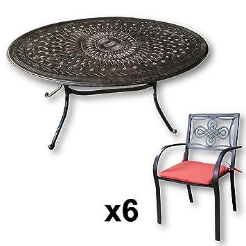 Lazy Susan Emily 150 X 95 Cm Ovaler Gartentisch Mit 6 Stuhlen