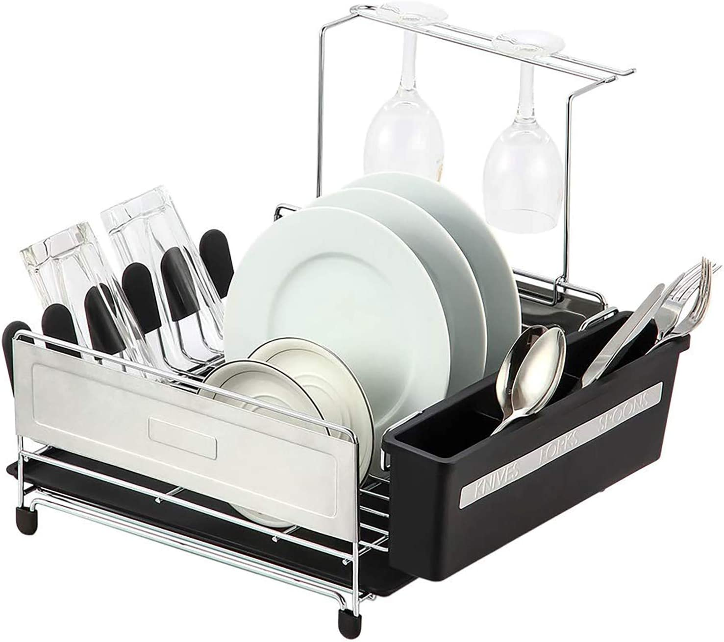 Home Basics Stainless Steel Dish Drying Rack and Drain Board Set, Black