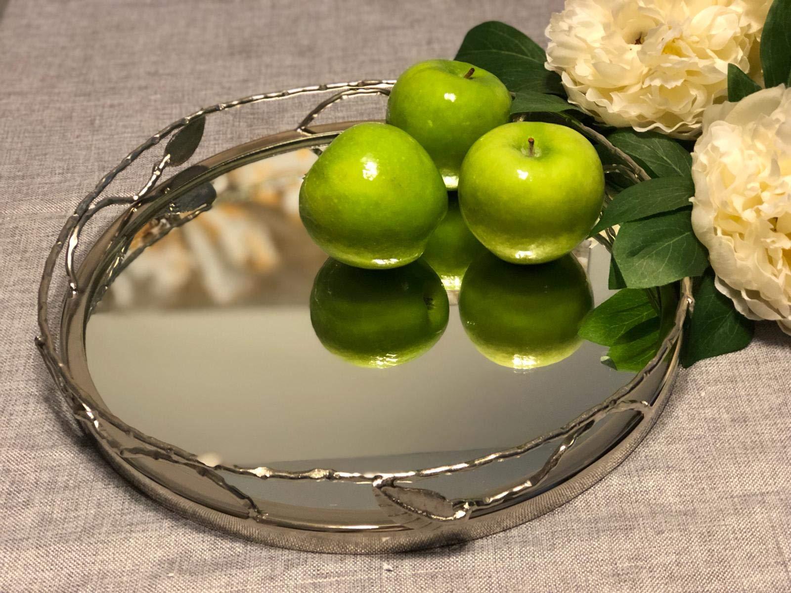 Round Mirror Tray with Nickel Leaf Design