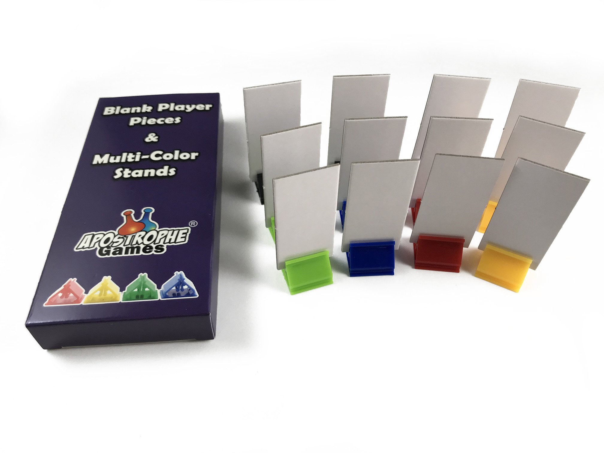 Apostrophe Games 12 Blank Board Game Stand Up Player Pieces with Multi-Color Card Stands