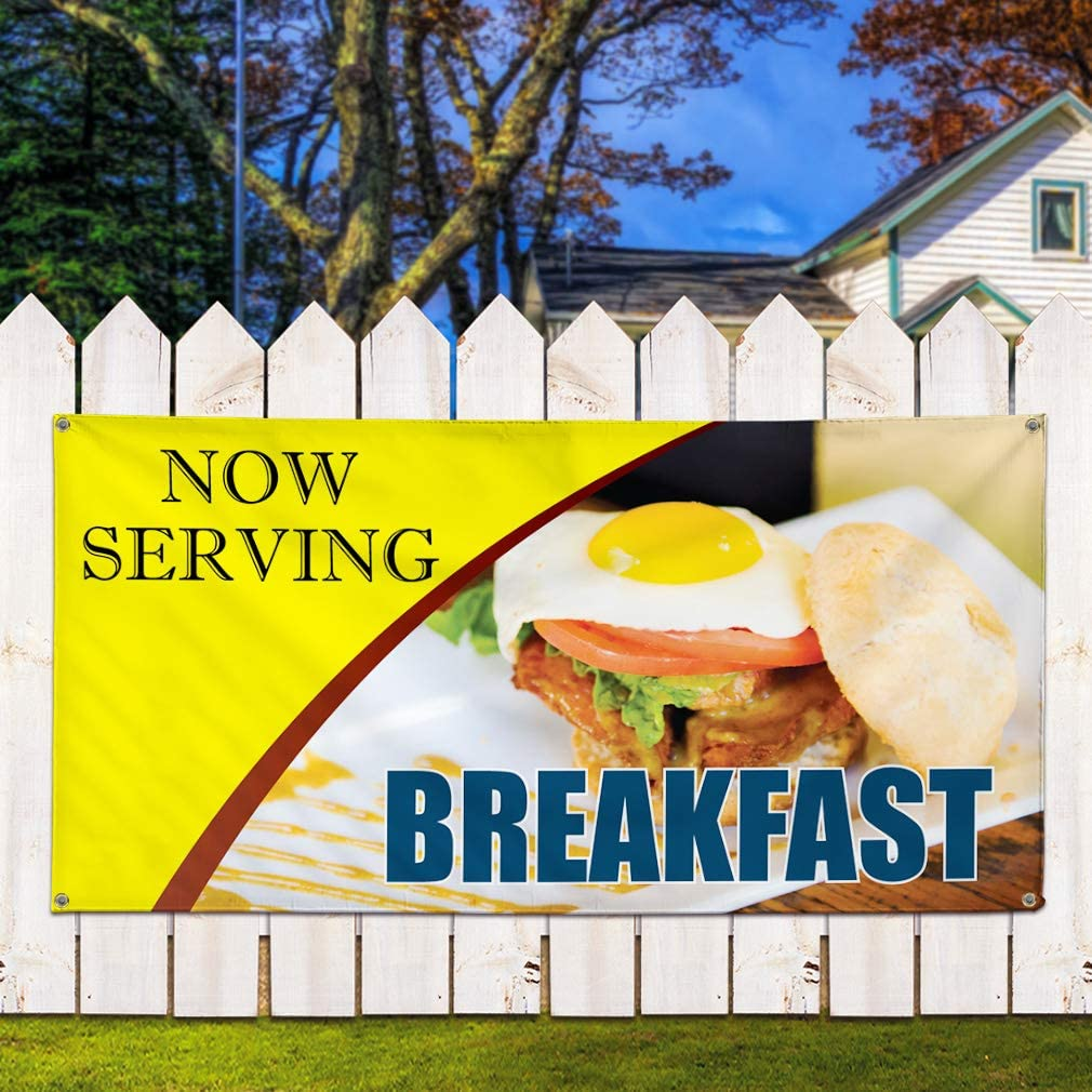 Vinyl Banner Sign Now Serving Breakfast #7 Business Outdoor Marketing Advertising Yellow 32inx80in Multiple Sizes Available Set of 2 6 Grommets