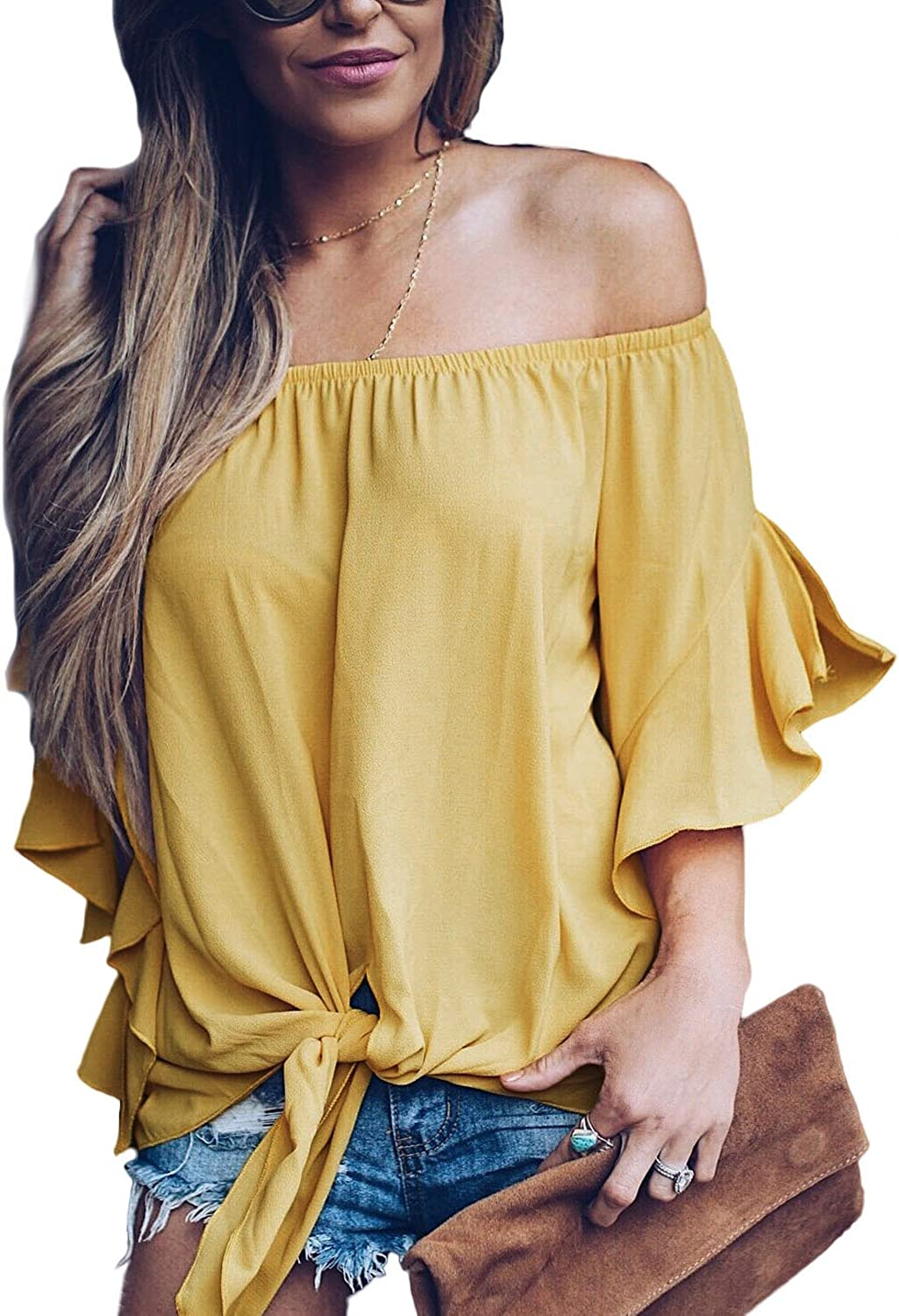 Women's Solid Bell Sleeve Off Shoulder Blouse Tops Front Tie Knot Shirt