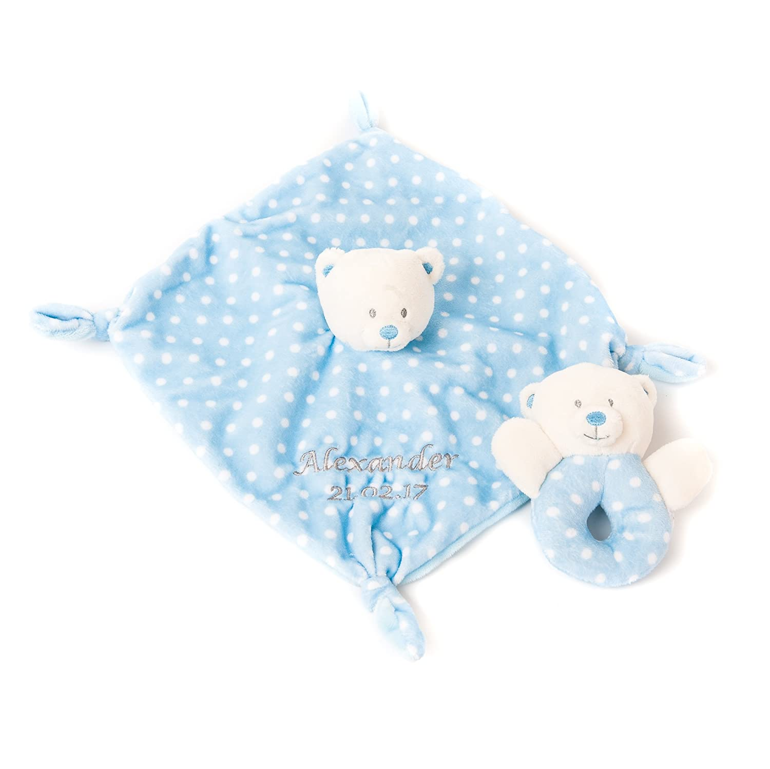 Personalised Embroidered Baby Comforter and Ring Rattle Set with name Newborn Blue Gift Gift Hoolaroo 9A710904F