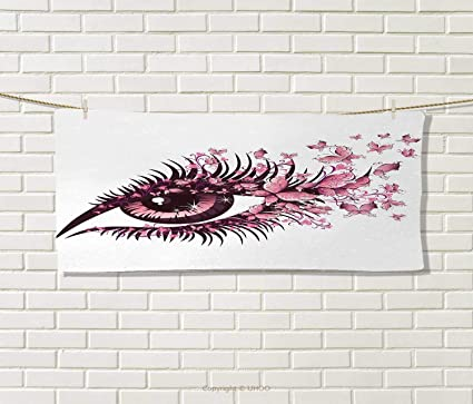 Anniutwo Butterflies,Travel Towel,Fairy Female Eye Butterflies Eyelashes Mascara Stare Party Makeup,