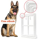 Pet Dog Door for Screens – Two-Way Self-Locking Screen Dog Door with Magnetic Lock – Different No-Break Hinge – White Plastic Patio Dog Door Large – 12 in. x 16 in. – by All Dog's Needs