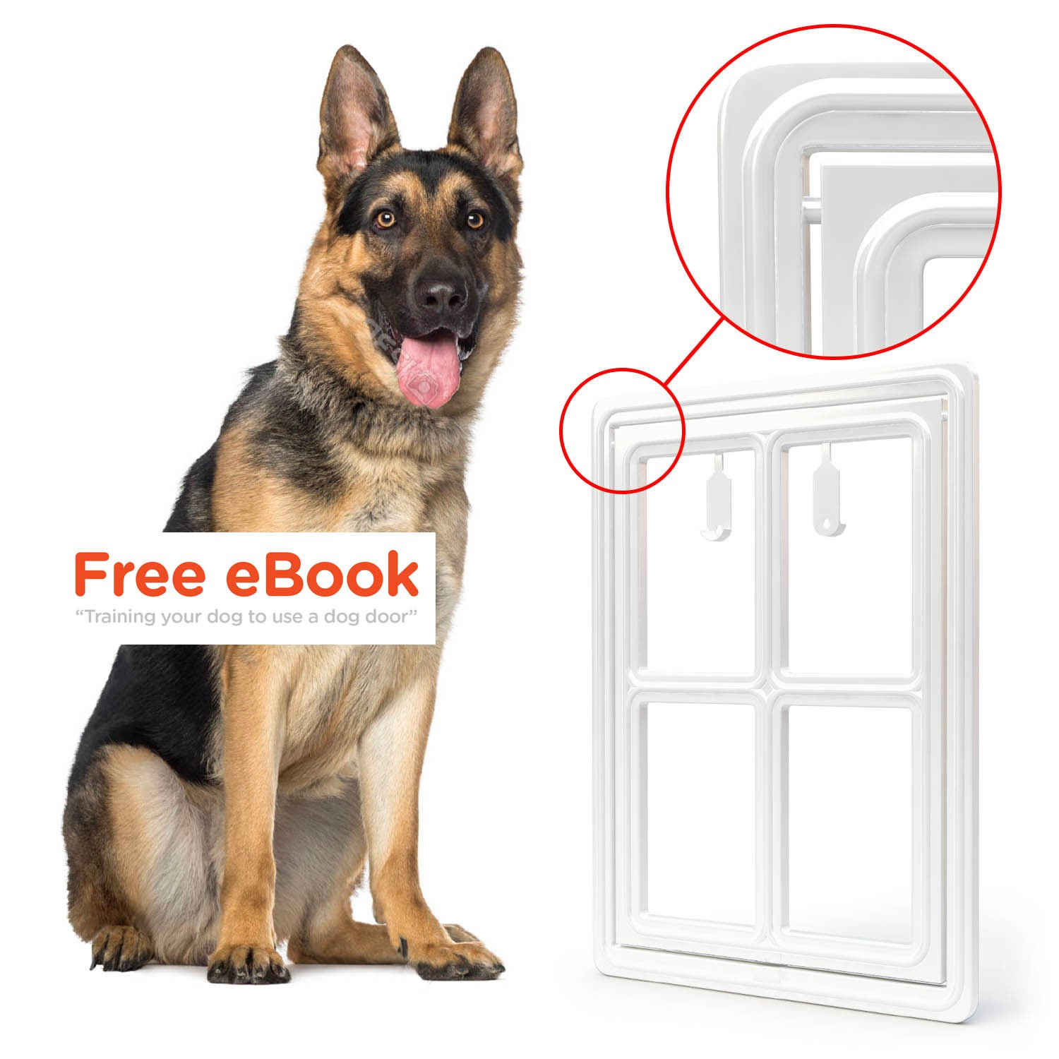 Pet Dog Door for Screens - Two-Way Self-Locking Screen Dog Door with Magnetic Lock - Different No-Break Hinge - White Plastic Patio Dog Door Large - 12 in. x 16 in. - by All Dog's Needs