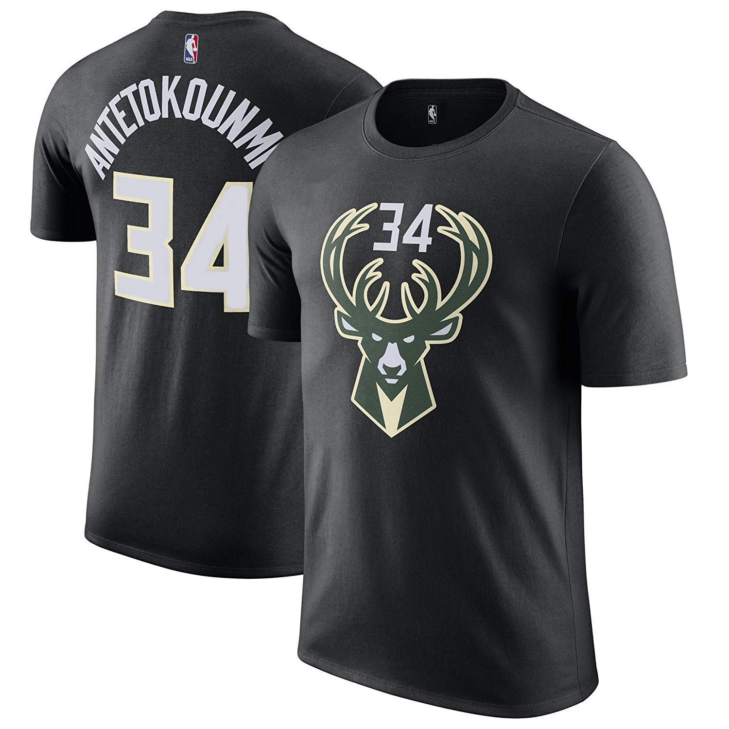 e4d606b1b Amazon.com : Outerstuff Giannis Antetokounmpo Milwaukee Bucks NBA Youth 8-20  Boys Black Alternate Official Player Name & Number T-Shirt (Youth Small 8)  ...