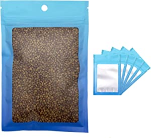 100 Pcs Resealable Mylar Ziplock Food Storage Bags, Gradient Color Smell Proof Bag with Clear Window, Packaging Pouch for Coffee Beans Candy Sample Food (Blue Blue, 5.9 X 8.6 Inch)