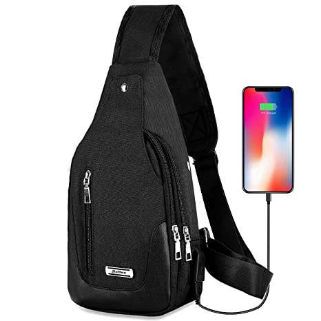 568c827d2f57 DOUN Lightweight Casual Canvas Unbalance Backpack Crossbody Sling Shoulder  Bag Chest Bag with USB Charging Port