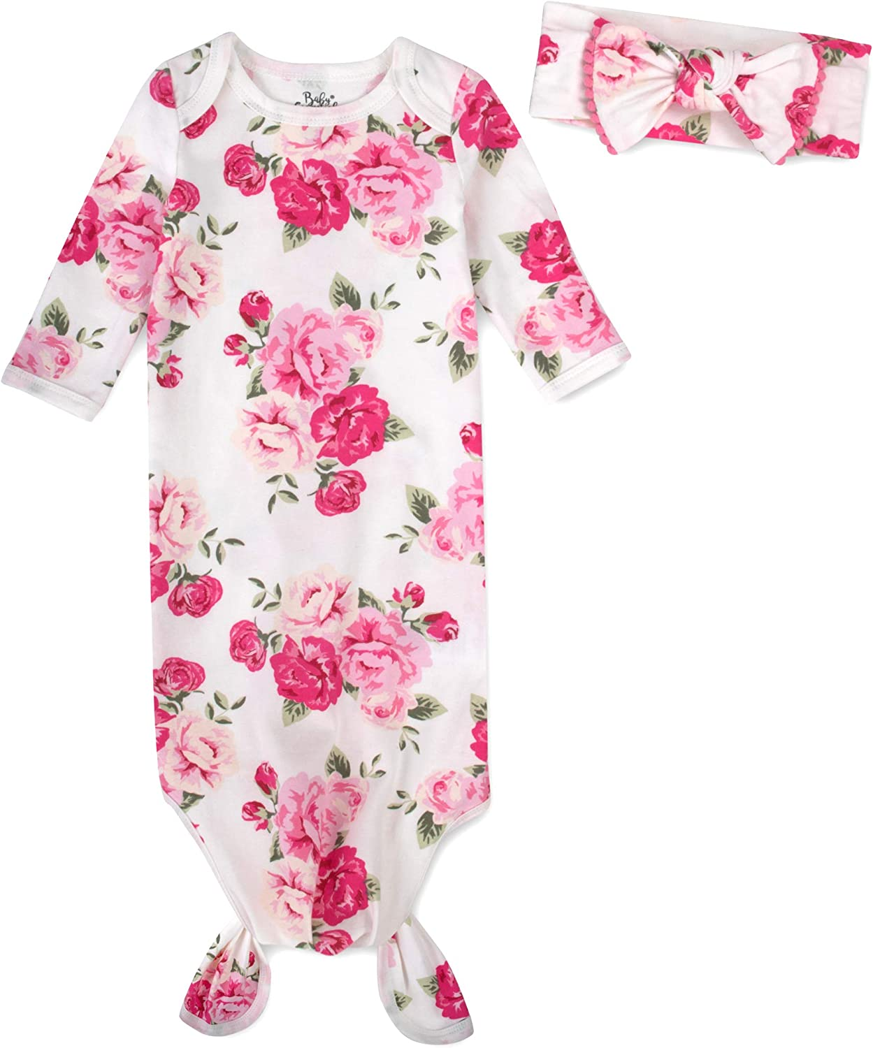 Coming Home Outfit for Baby Girl Newborn Knotted Infant Sleeper Gown with Headband 0-3 Months