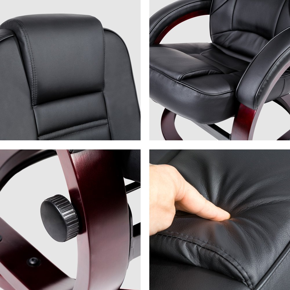TecTake Luxury Faux Leather TV Armchair Recliner With Footstool Relaxer Chair With Wooden Feet Black