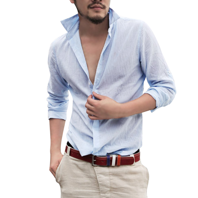 Katesid Men Summer Fashion Long Sleeve Light Weight Loose Fit Beach Wear Casual Shirt Button up Blouse