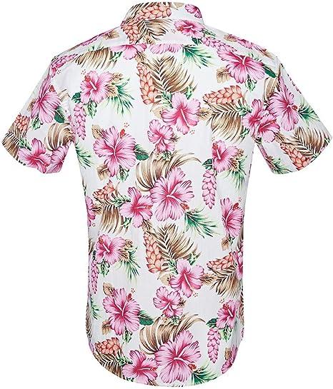 LFNANYI Para Hombre Camisa Hawaiana de Manga Corta Verano Casual Camisas de Vestir Florales para Hombres Más el Tamaño de Playa Fiesta Camisa s para Hombre XXL: Amazon.es: Deportes y aire libre