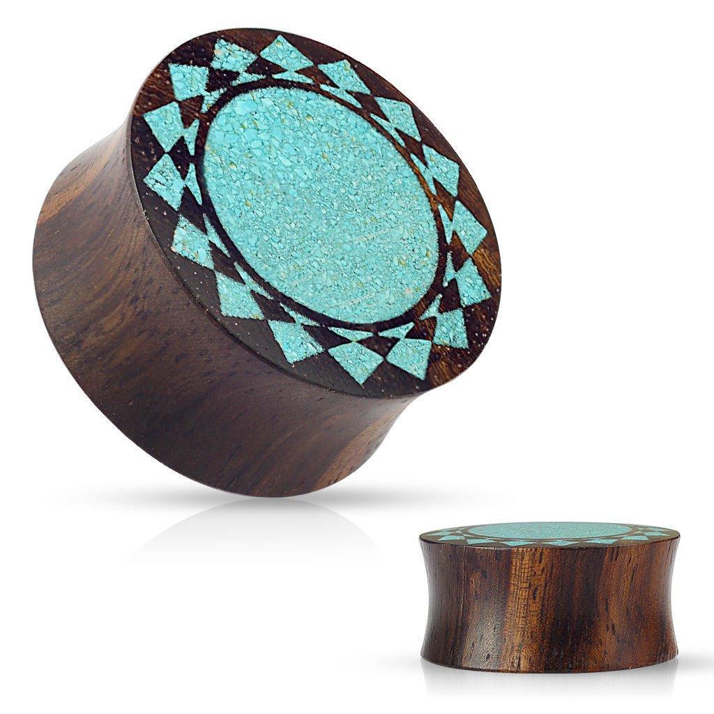PAIR of Crushed Turquoise Tribal Sunburst Inlaid Wood Saddle Plugs - Gauges 00g - 1
