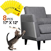 """One Sight 8pcs Cat Scratch Furniture Protector Large (12"""" x 17"""") Cat Couch Protector Clear Double Sided Anti Scratch Cat Deterrent Training Tape, Cat Sticky Paws Tape for Furniture,Sofa,Wall,Mattress"""