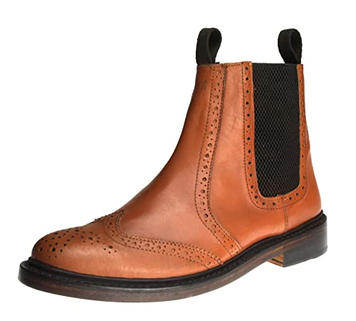 465dad81cf4 Benchgrade 1920 Mens Tan or Black All Leather Welted Chelsea Brogue Dealer  Boots