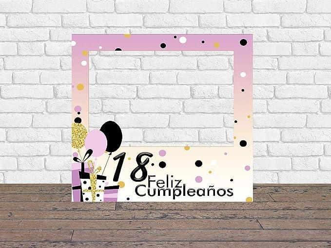 Photocall Feliz Cumpleaños 18 Niña 1x1m | Detalles Cumpleaños | Photocall Económico y Original | Disfruta de Unas Divertidas Fotos con Nuestro ...