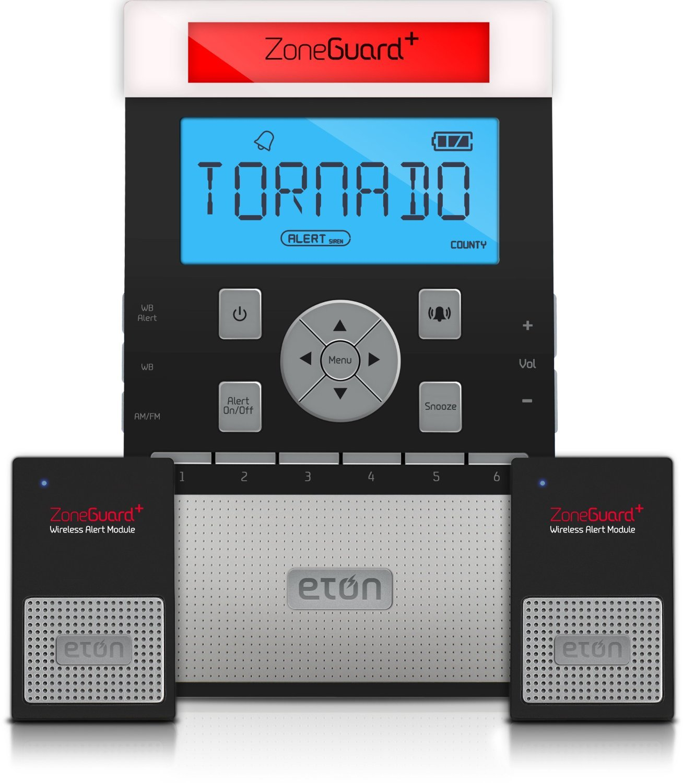 Eton ZoneGuard+ Weather Alert Clock Radio System with Wireless Alert Modules - Black, NZG200B