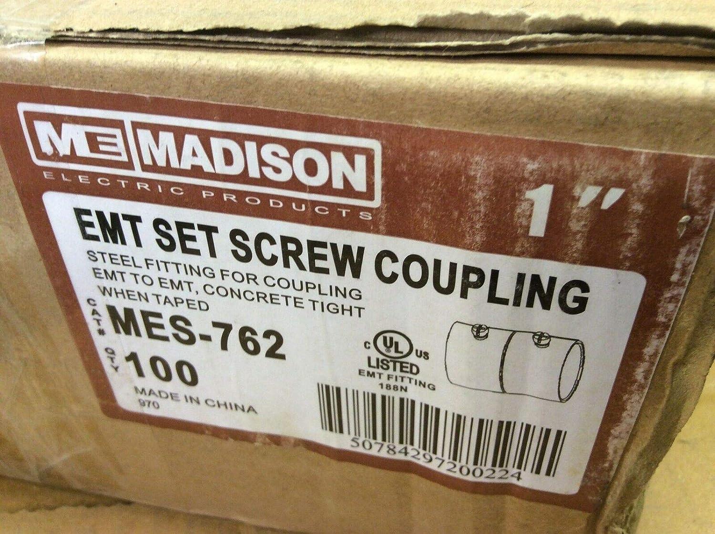 Madison MES-762 Steel Set Screw Couplint Fitting for 1 EMT LOT 100$69 Venture Florida Electronics 100