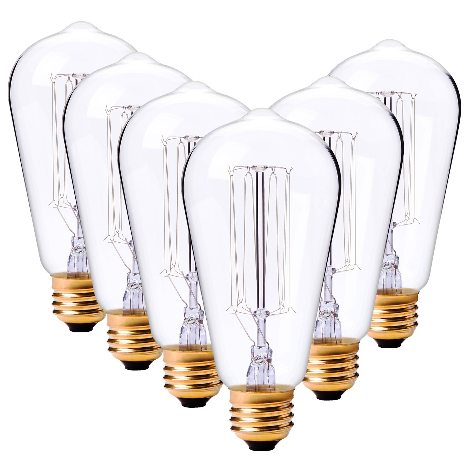 LDUSAHOME Vintage Edison Bulbs 60W Antique Classic Style Squirrel Cage Filament Incandescent Light Bulb E26 Base ST64 120V for Home Lighting Fixtures Lamp's Bulbs Warm Lighting Dim 2700K, 6 Pack