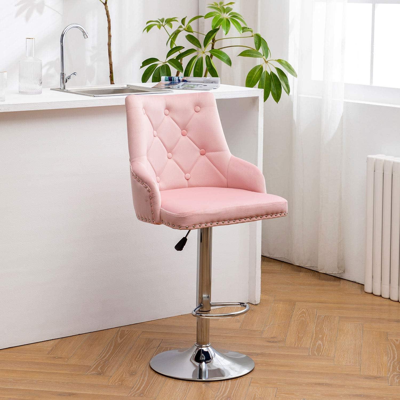 Hironpal Pink Velvet Bar Stool Chairs, Studded Barstool with Backrest  Breakfast Bar Stool, Adjustable 9 Degree Swivel Gas Lift, Chrome Footrest  and ...