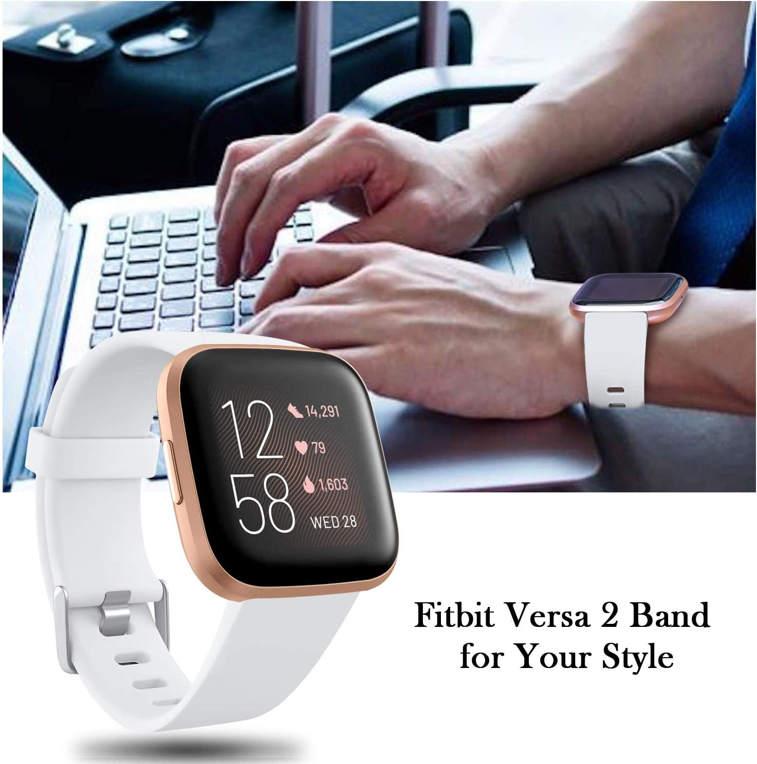 Bands Compatible with Fitbit Versa 2 Small Black Soft Sillicone Strap Replacement Sport Wristbands Accessories for Women Men Versa//Versa Lite//Versa Special Edition