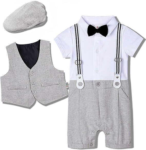 0-18 Monate mintgreen Jungen Gentleman Smoking Anzug Kurzarm Strampler mit Krawatte Hut Weste