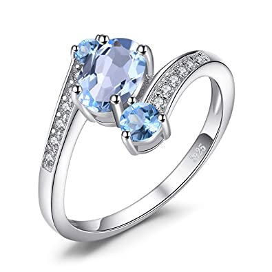JewelryPalace 925 Sterling Silver 1.1ct Natural Blue Topaz 3 Stone Anniversary Ring Size N 3WOGq39G9U