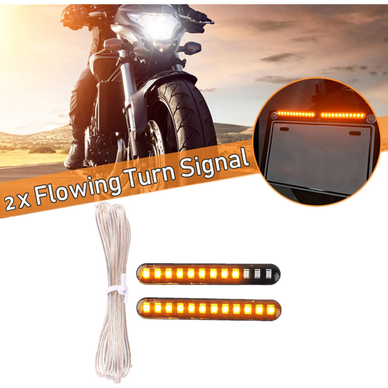 Paquete de 2 FEZZ LED Mini Tiras Intermitentes Moto L/ámparas Luces de Direcci/ón Se/ñales /Ámbar Universal Motocicleta DC 12V 6W Impermeable