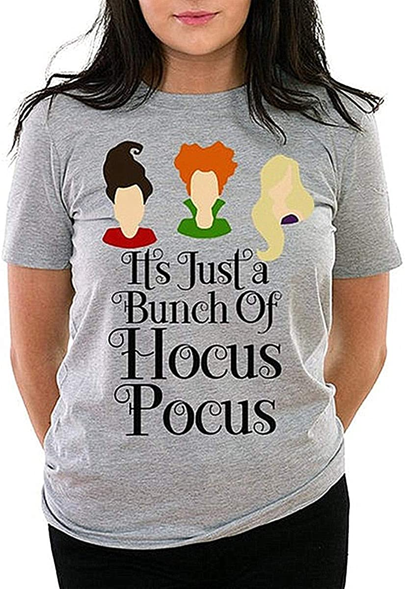 Women Plus Size Halloween Christmas Tshirts It's Just A Bunch of Hocus Pocus Shirt Blackletter Top: Clothing